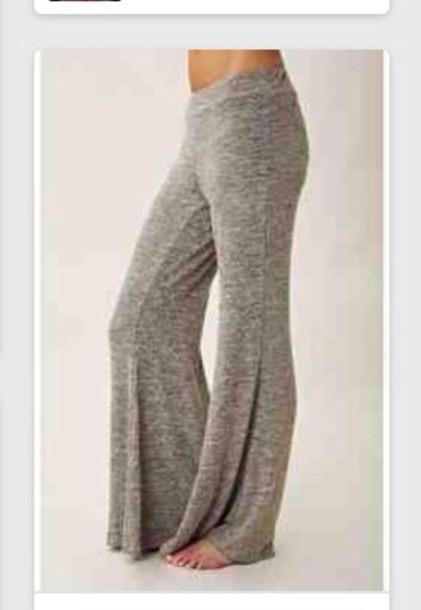 pants grey bell bottoms cute trendy sweats yoga knit bell bottoms