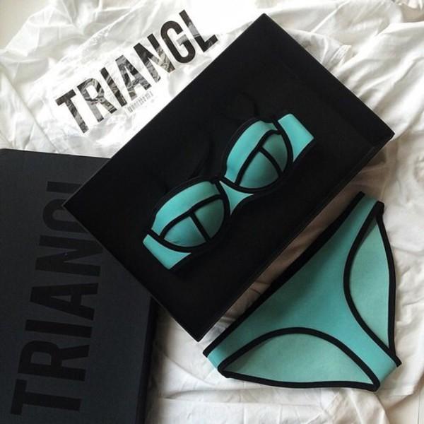swimwear bikini turquoise triangle bikini