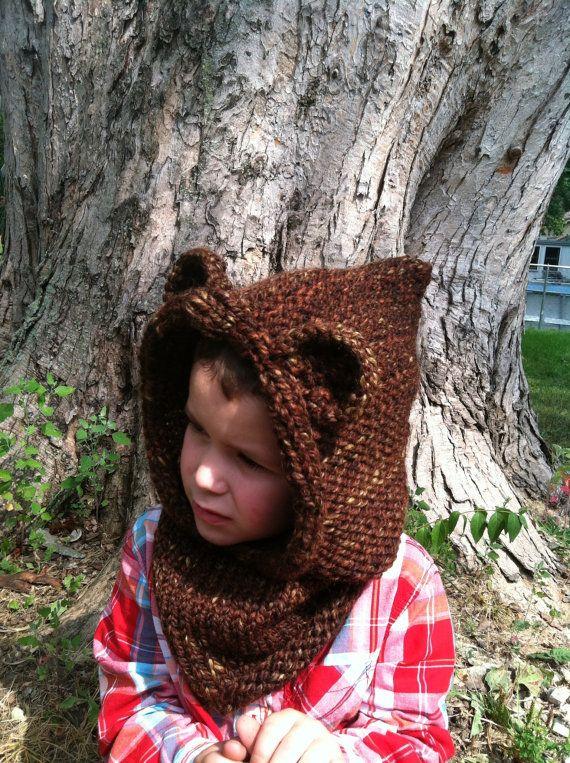 Bear, Ewok, Hoodie, Cowl, Star Wars, Hand Knit, Animal Hat, Grizzly B?