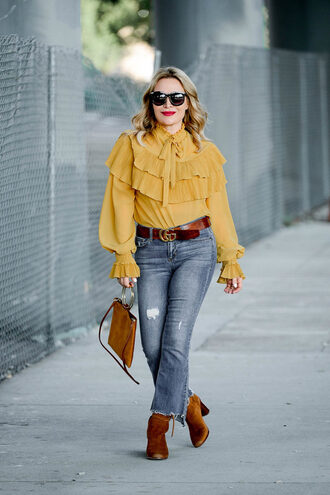 thehuntercollector blogger blouse belt shoes bag fall outfits yellow top gucci belt ankle boots