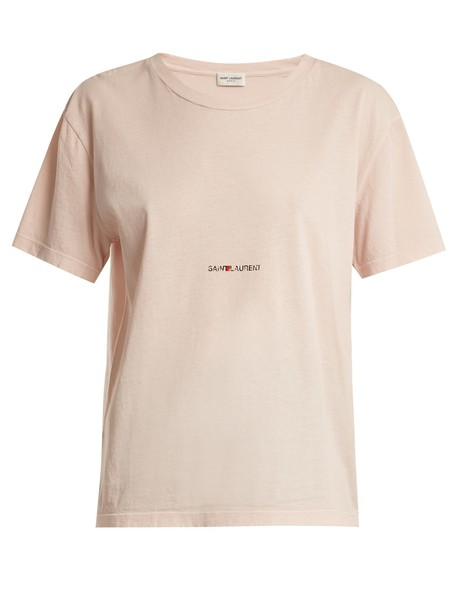 Saint Laurent t-shirt shirt t-shirt cotton print light pink light pink top