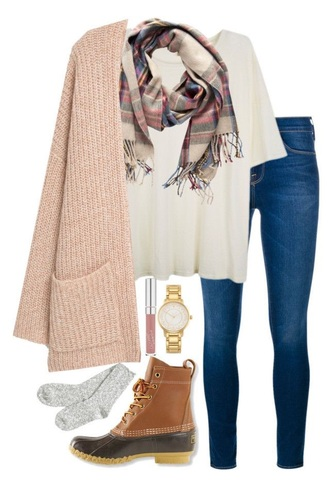 jeans cardigan shirt scarf