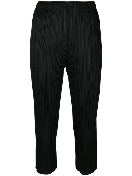 Pleats Please By Issey Miyake pleated cropped women black pants