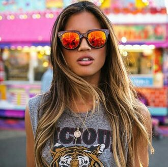 sunglasses on point clothing sunnies orange red edgy style trendy hipster tumblr summer cool girl travel blogger instagram pretty beautiful date outfit lifestyle women gorgeous fashionista jewelry jewels accessorize accessory accessories blonde hair tumblr girl t-shirt