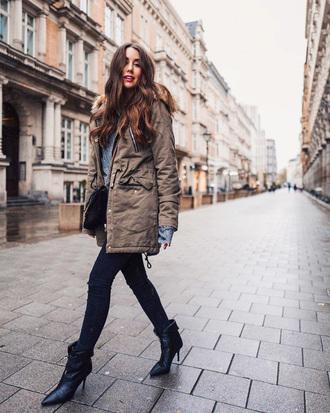 jacket tumblr army green jacket parka denim jeans blue jeans boots black boots ankle boots bag black bag