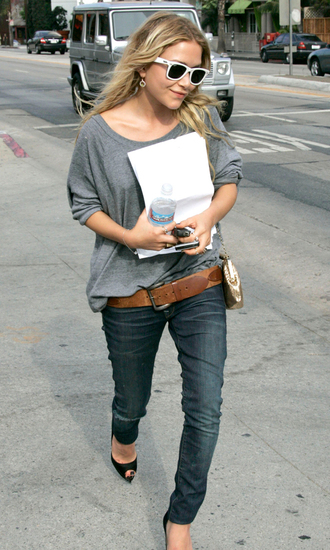 jeans shoes mary kate olsen olsen sisters sweater sunglasses fall outfits