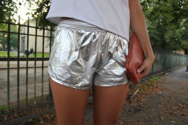 shorts silver silvershorts shortshorts metallic short silver shorts stretchy shorts running shorts metallic shorts sunmer clutch brown clutch