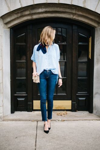 shirt chambray shirt chanel bag chambray skinny jeans blue jeans silk scarf manolo blahnik black pumps french girl style