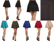 Sexy High Waist Short Jersey Plain Flared Pleated A Line Skater Mini Skirt | eBay