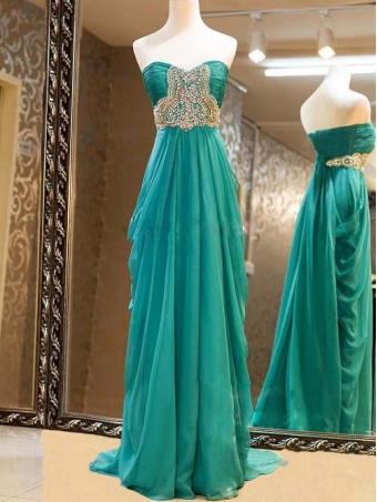 Gorgeous sweetheart sweep train beaded prom dresses/graduation dress [e0032]