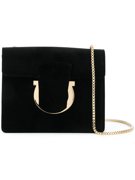 Salvatore Ferragamo women bag shoulder bag leather black velvet