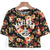 Black Short Sleeve Floral Letters Print Crop T-Shirt - Sheinside.com