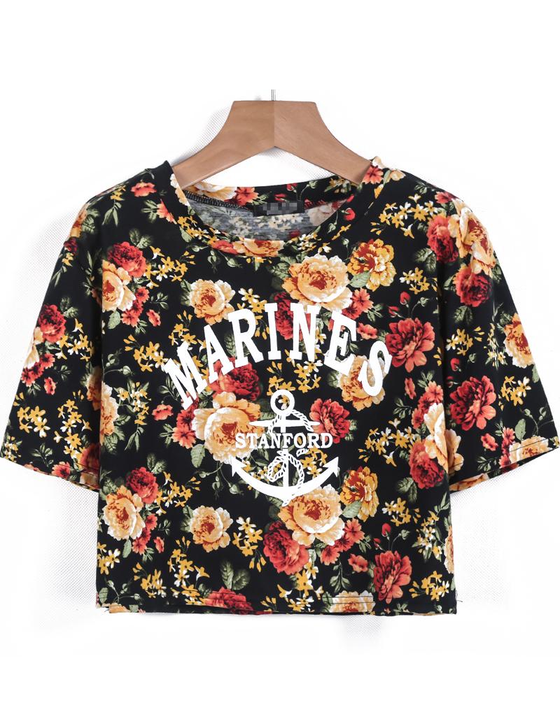 Black Short Sleeve Floral Letters Print Crop T-Shirt - Sheinside.com