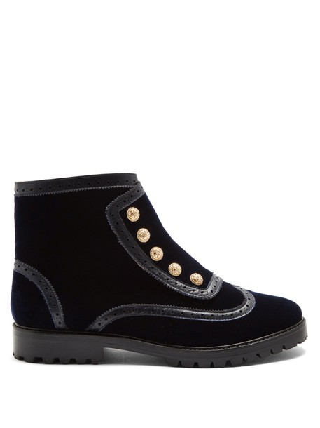 RUE ST. velvet ankle boots street ankle boots velvet navy shoes