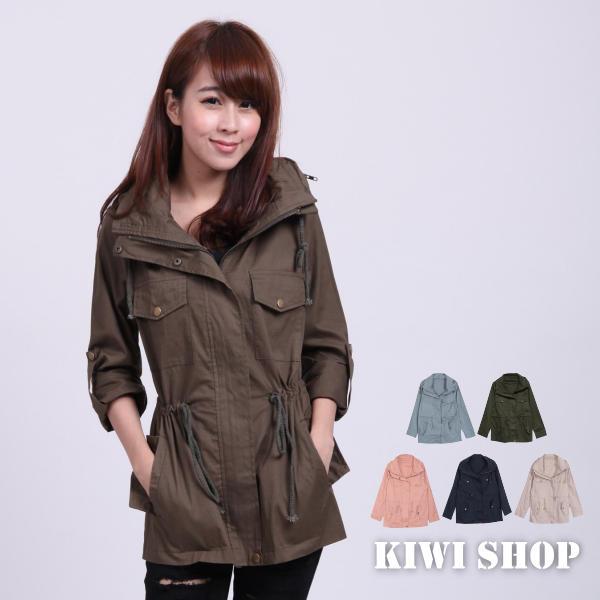 Sleeve drawstring military jacket, khaki , one size