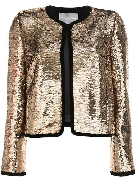 Monique Lhuillier jacket sequin jacket cropped women spandex silk grey metallic
