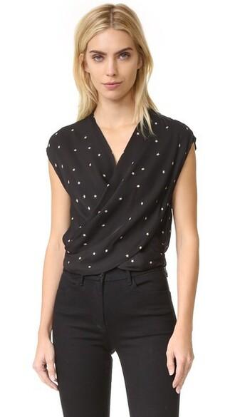blouse cross black top