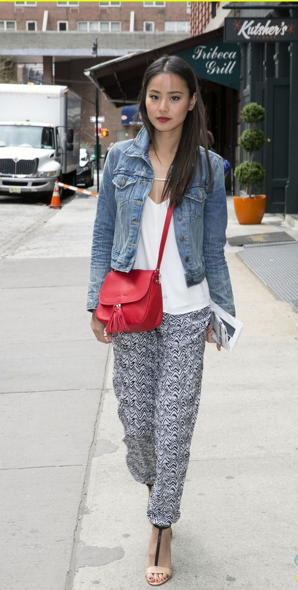 pants jamie chung print denim jacket sandals shoes