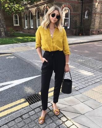 shirt tumblr yellow yellow top pants black pants bag black bag shoes flats sandals flat sandals