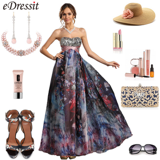 dress edressit print flowers beautiful evening dress