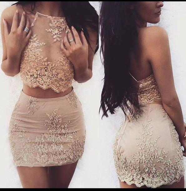 dress lace dress lushfox two piece dress set 2 piece skirt set nude dress lace shirt lace nude skirt beige two-piece