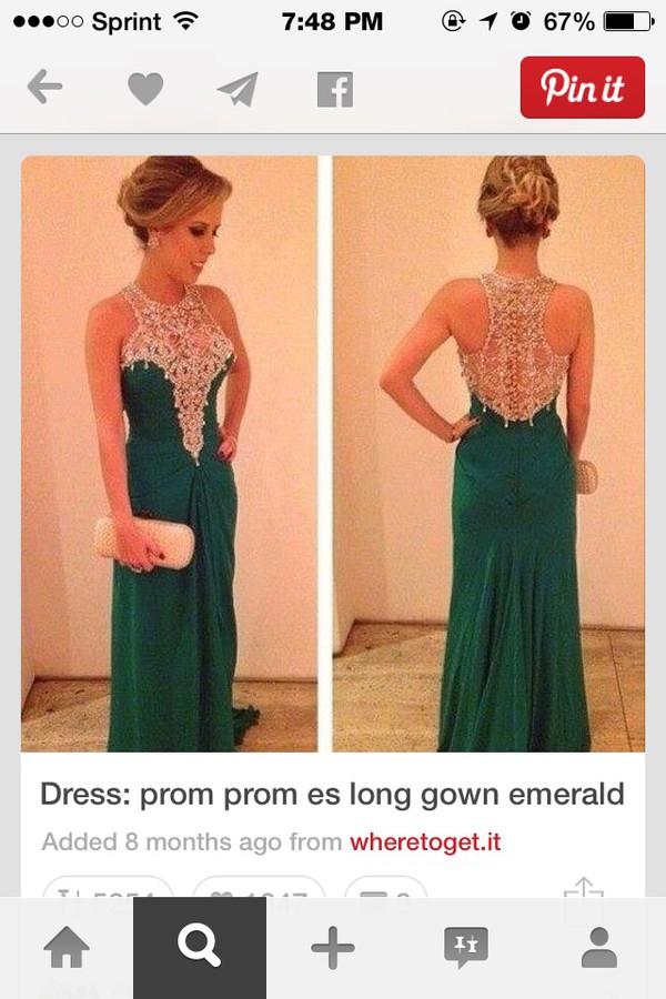 emerald prom dress lace up