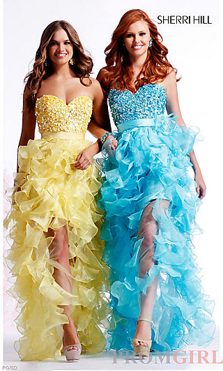 Sherri Hill Designer Strapless Homecoming Dresses- PromGirl