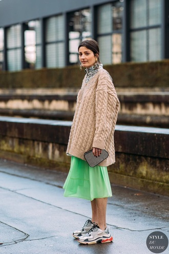 shoes balenciaga sneakers skirt green skirt sweater oversized midi skirt beige sweater oversized sweater streetstyle