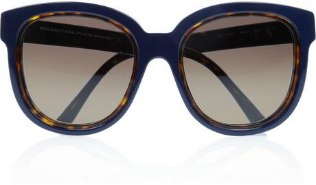 Balenciaga round frame acetate sunglasses in blue