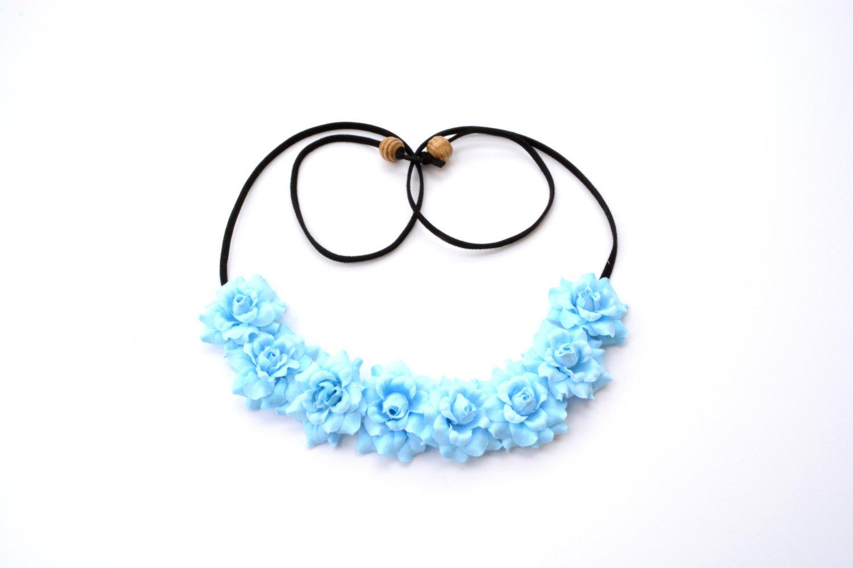 Light blue flower crown rose floral halo headband flower headpiece hippie boho bohemian spring floral hairwrap flower crown sky blue