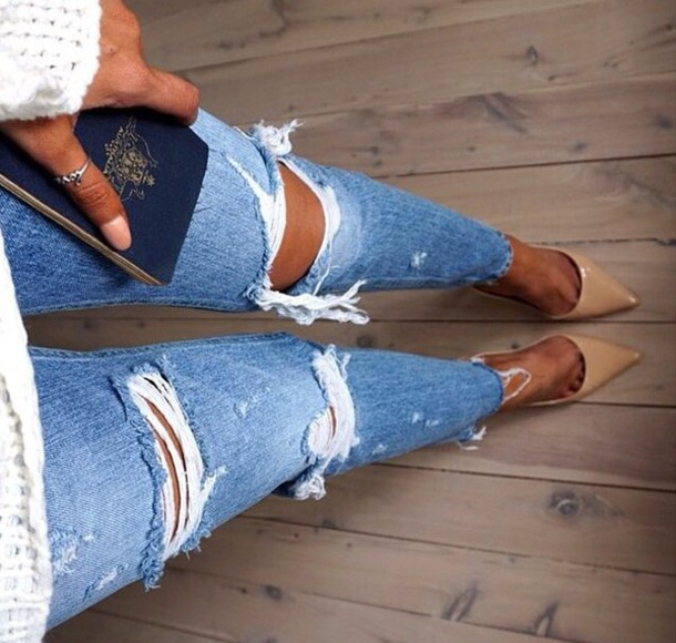 Jeans: ripped jeans, ripped, destroyed skinny jeans, shoes ...