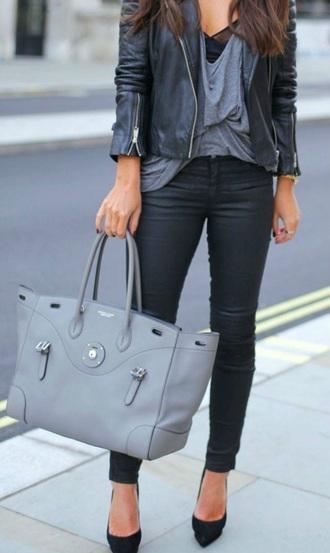 bag jacket shirt jeans