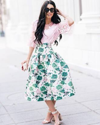 Pink Floral Midi Skirt - Shop for Pink Floral Midi Skirt on Wheretoget