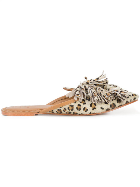 Figue fur women mules leather print shoes