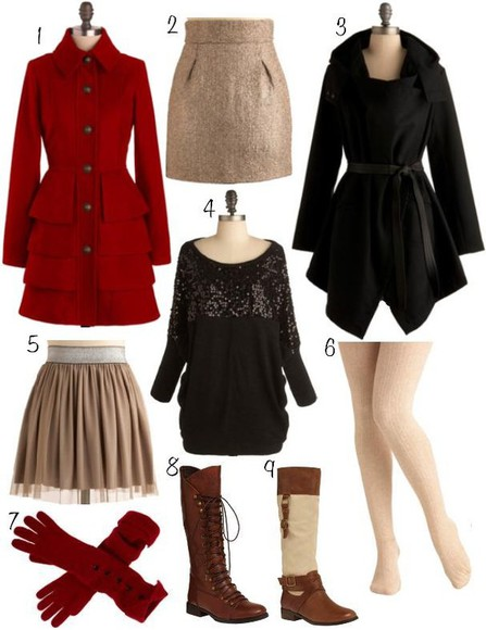 red carpet red skirt cute coat girly boots black gold tan tights