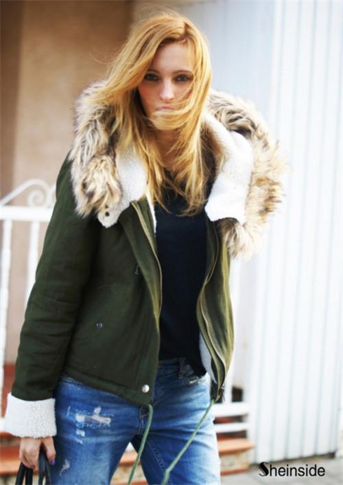 Nouveau printemps 2014/d'automne de mode hot top vert fourrure à manches longues manteau à capuchon femmes dans de sur aliexpress.com