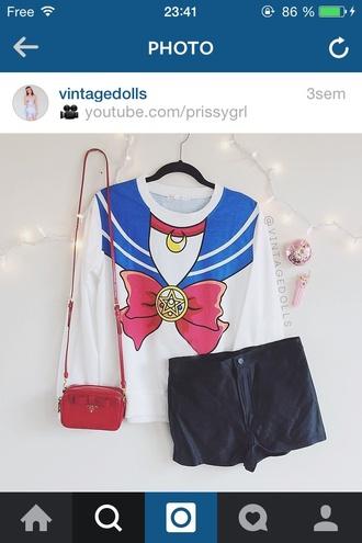 t-shirt sailor moon anime manga instagram cute beautifull bah shorts bag kawaii
