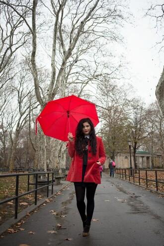 noelles favorite things blogger red coat umbrella coat sweater dress t-shirt
