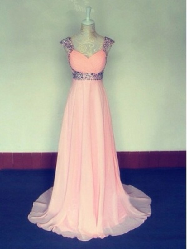 dress prom sleeves sparkle formal gown pearl pink