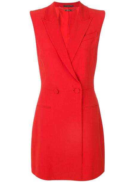 Alexander Mcqueen dress sleeveless dress sleeveless style women silk red