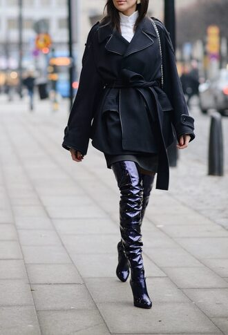 shoes tumblr boots black boots over the knee boots over the knee thigh high boots thigh highs thigh-high boots high heels boots coat black coat vinyl