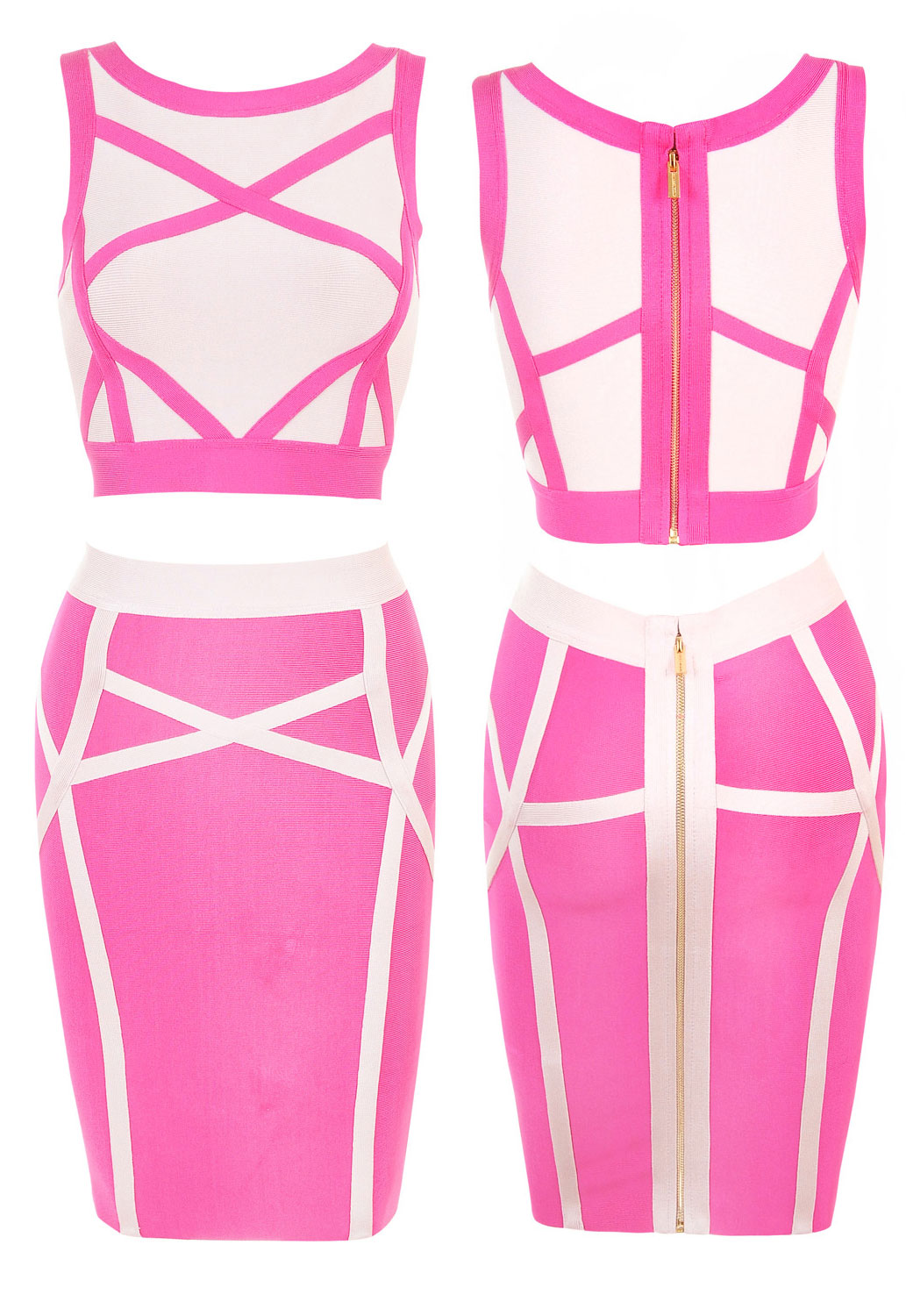 Wholesale Neon Pink White Bandage Skirt Set for Cheap