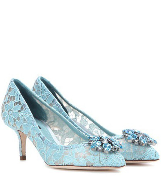 Dolce & Gabbana Bellucci Embellished Lace Pumps in blue