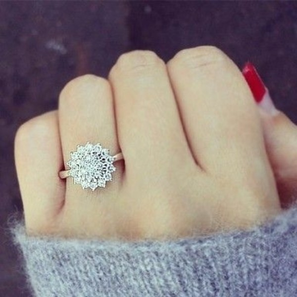 jewels ring engagement ring jewelry snowflake PLL Ice Ball valentines day gift idea diamonds diamonds snow flower ring silver ring silver jewelry silver rhinestones ring rings & tings wedding ring cluster