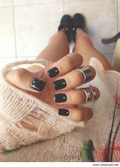 jewels,knuckle ring,ring,silver ring,nails,nail art,silver,edgy,minimalist jewelry,dark nail polish,nail polish