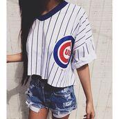sweater,chicago cubs,crop tops,baseball jersey,vintage baseball jersey