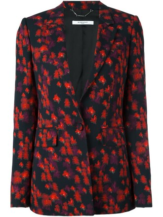 blazer floral print black jacket
