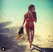swimwear,cut-out,red,one piece,one piece swimsuit,bikini,underwear,coral