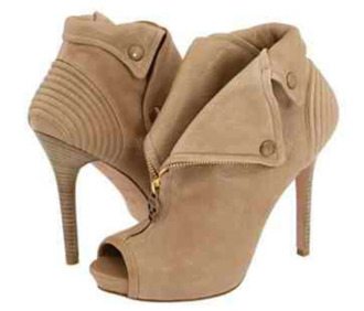 shoes booties zip tan color open toes high heels
