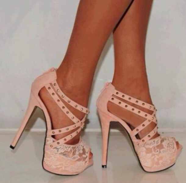 Shoes: pink, salmon, heels, beautiful, studs, lace - Wheretoget